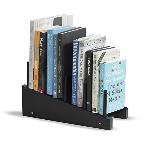 Free-Standing Wooden Book Holder 4-Slot Magazine Organizer Rack Black