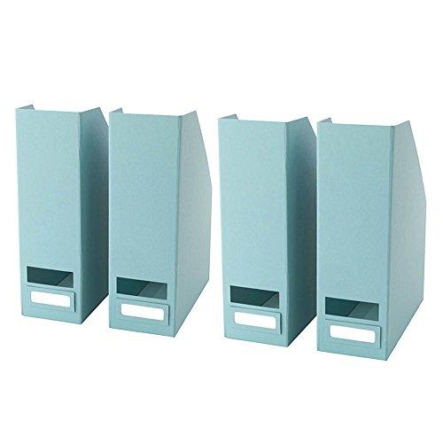 Set of 4 Document Magazine Organizer Storage File Boxes Sky Blue