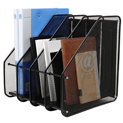 Heavy Duty 4 Compartment Black Metal Mesh Office Desktop Document File Organizer Rack  Magazine Holder