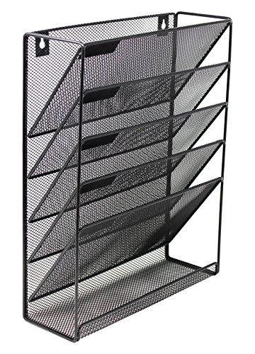 Mesh Wall Mounted Hanging Document File Organizer - 5 Compartment Vertical Magazine Rack Mail SorterHolder Tray - Black