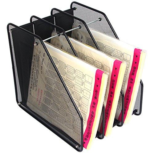Metal Magazine Holder Black Mesh Desktop Document File Organizer Rack3 Compartments by Sun Cling