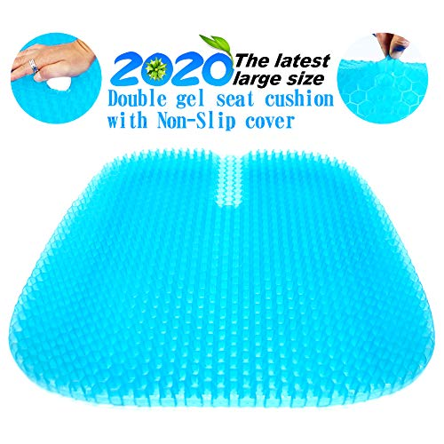 Gel Seat Cushion 2020 the Latest Large Size Honeycomb Design Cushion Double Thick Seat Cushion with Non-Slip Cover Super Breathable Gel Cushion for Back Painr Home Office Chair Car Wheelchair
