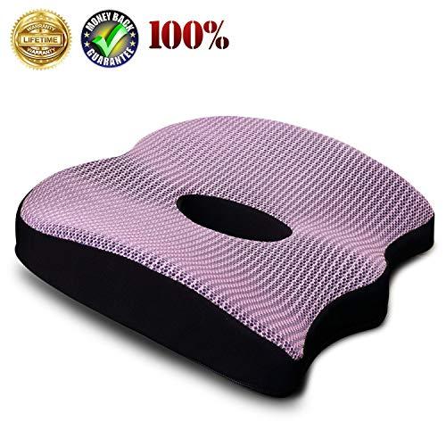 Premium Comfort Seat Cushion Non-Slip Orthopedic Memory Foam Coccyx Cushion for Tailbone Pain Cushion for Office Chair Car Seat Back Pain Sciatica Relief Seat Cushion Purple