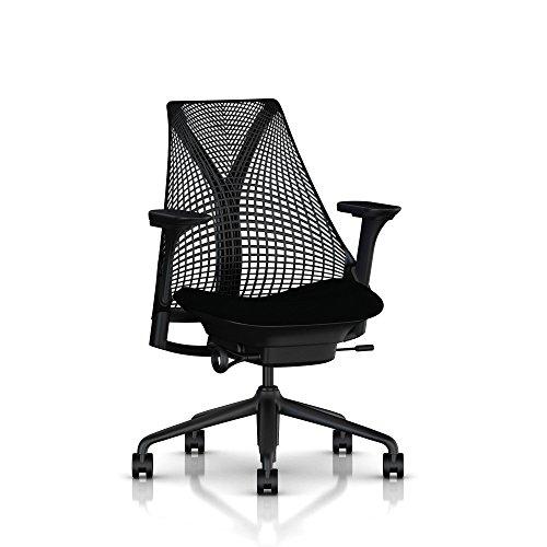 Herman Miller Sayl Task Chair Tilt Limiter - Adj Seat Depth - Fully Adj Arms - Standard Carpet Casters - Black Base Frame