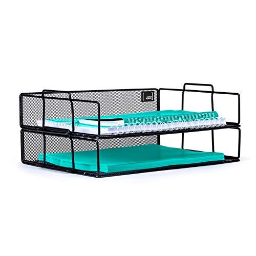 Mindspace 2 Tier Stackable Letter Tray Desk Organizer  Stackable Paper Tray Organizer  The Mesh Collection Black