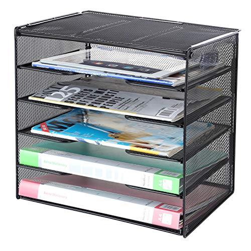 Samstar Paper Letter Tray Mesh Desk File Organizer with 5 Tier Shelf and Sorter Black
