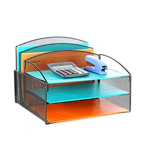 Veesun Desk OrganizerMesh Desktop File Organizer Letter Paper Tray Holder with 2 Vertical Upright Section and 3 Deep Trays Black