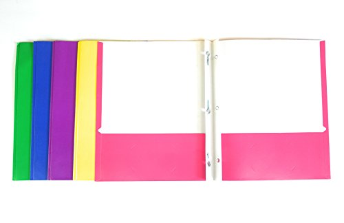 2 Pocket Folders With Prongs 5 Piece Bundle Blue Yellow Green Pink Purple