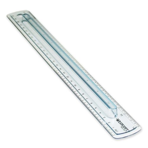 Westcott Finger Grip Ruler Smoke Plastic Inches and Metric 12-Inch  00402