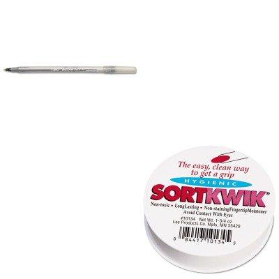 KITBICGSM11BKLEE10134 - Value Kit - Lee Sortkwik Fingertip Moisteners LEE10134 and BIC Round Stic Ballpoint Stick Pen BICGSM11BK