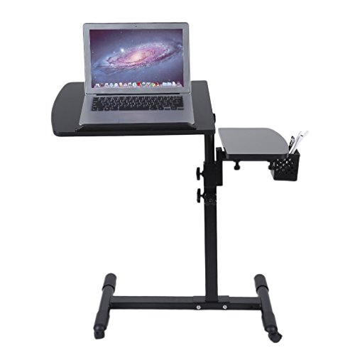 Belovedkai Height Adjustable Portable Office Desk Rolling Laptop Desk Cart Home Office Hospital Table Black