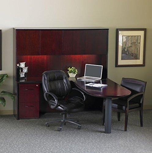 Mayline L-Shaped Peninsula Desk WHutch Overall Dimensions 72W X 80D X 68H Credenza 72W X 20D X 295H Peninsula Return 60W X 30D X 295H Hutch 7175W X 15D X 385H - Mahogany