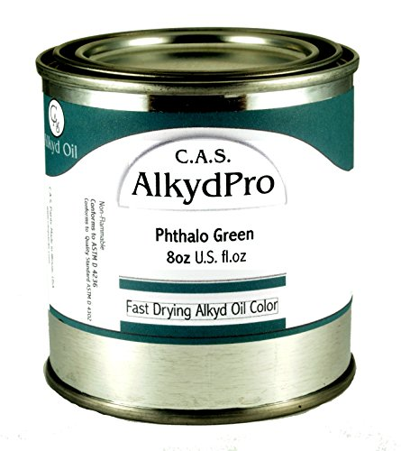 CAS Paints AlkydPro Fast-Drying Oil Color Paint Can 8-Ounce Phthalo Green