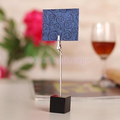 Black Desk Cube Base Wire Memo Holder Photo Picture Paper Note Clip