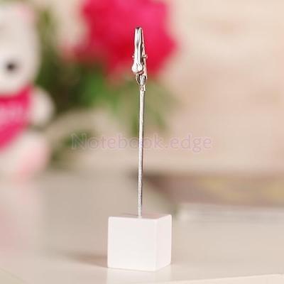 Desk Cube Base Wire Memo Holder Photo Picture Paper Note Clip