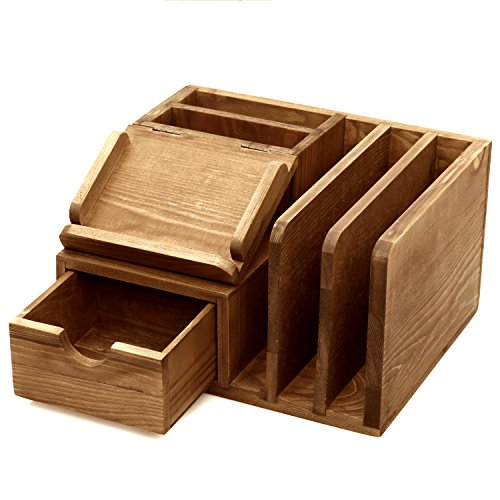 MyGift Rustic Wood Desk Accessory Storage OrganizerMail SorterSticky Note Memo Pad Holder