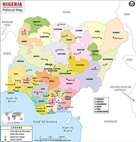 Nigeria Political Map 36 W x 377 H