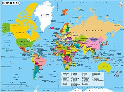 World Political Map - Laminated 36 W x 26 H