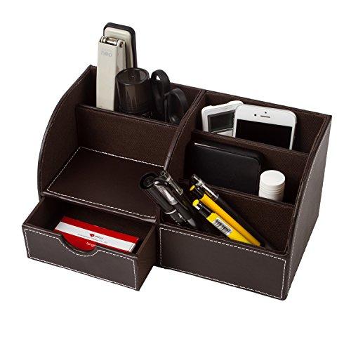 Leather Desk Organizer with Small DrawerUbaymax 6 Compartment Office School Supply Desktop Organizer Storage Box