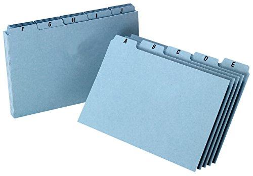 Oxford A-Z Index Card Guide Set 5 x 8 Inches Blue Pressboard 25 per Set P5825