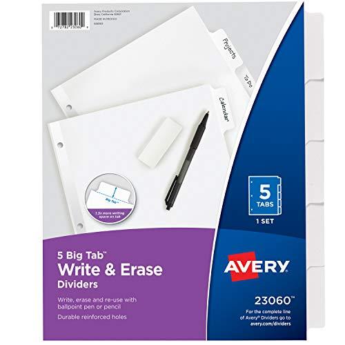 Avery 5-Tab Binder Dividers Write Erase White Big Tabs 1 Set 23060