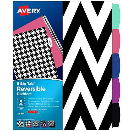 Avery 5 Tab Reversible Fashion Binder Dividers Assorted Designs Big Tabs 1 Set 24914