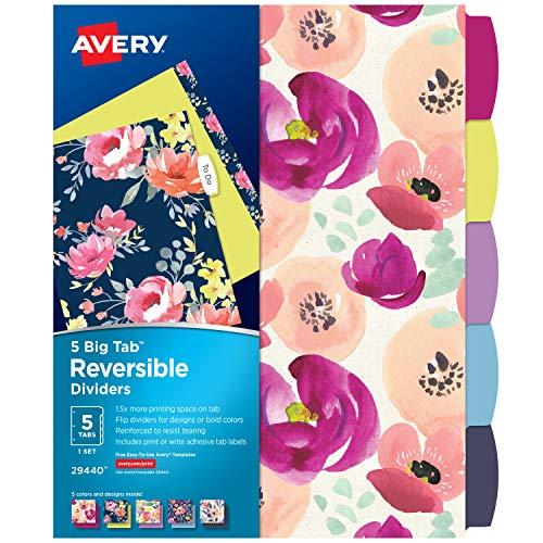 Avery 5 Tab Reversible Fashion Binder Dividers Design May Vary Big Tabs 1 Set 29440
