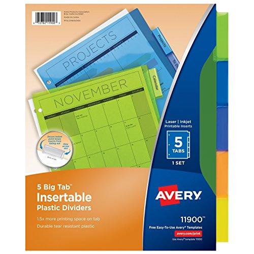 Avery Big Tab Insertable Plastic Dividers 5 Multicolor Tabs 1 Set 11900