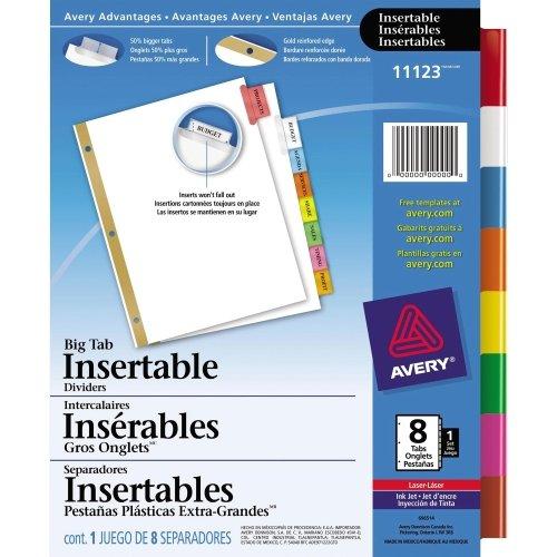 Avery WorkSaver Big Tab Insertable Tab Divider - 8 x Tab - Blank - 850 x 11 - 1  Set - Multicolor Tab