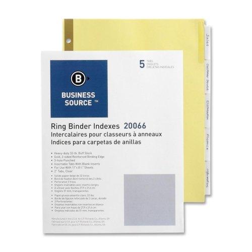 Business Source Insertable Tab Divider - 5 x Divider - 5 TabsSet - 850 x 11 - 1  Set - Buff Divider - Clear Tab