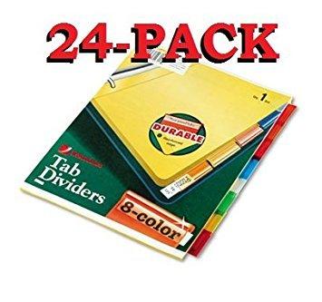 Wilson Jones Insertable Binder Tab Dividers 8 Tab Multicolor W54311A - 24 packs of 8 sets