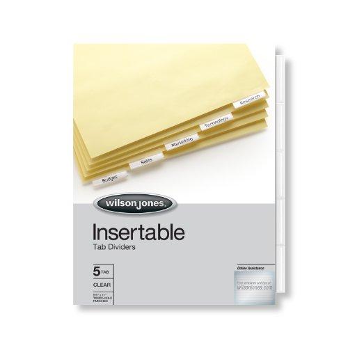 Wilson Jones Insertable Tab Dividers 5-Tab Set Clear Tabs W54310A