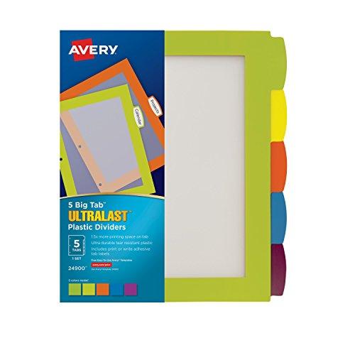 Avery Ultralast Big Tab Plastic Dividers 5 Tabs 1 Set Multicolor 24900