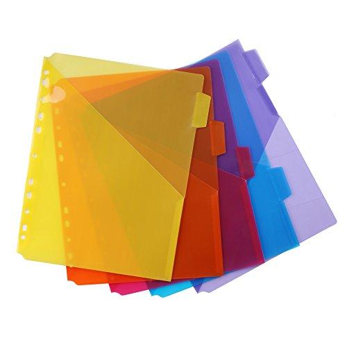 Eagle Single Pocket Plastic Divider Letter Size 5 Multi-Color Tabs Built-in Name Tab Pocket Fits for Standard 3-Ring Binders