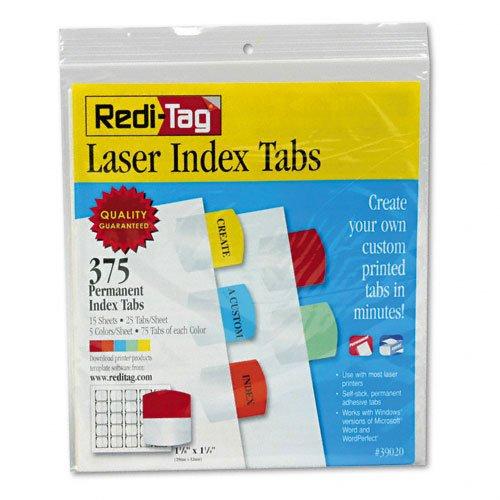 Laser Printable Index Tabs 1 18 x 1 14 5 Colors 375Pack