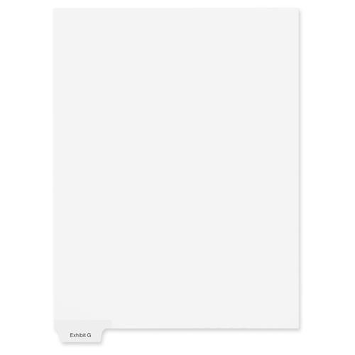 91146 Kleer-Fax 90000 Series Alphabetical Bottom Tab Index Divider - Printed Exhibit G - 6 TabsSet - 850 Divider Width x 11 Divider Length - Letter - 25  Pack - White Divider
