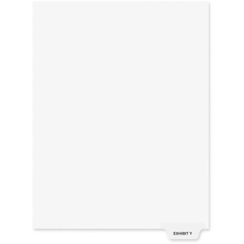 Kleer-Fax 80000 Series Preprinted Bottom Tab Index Divider - PrintedExhibit Y - 850 x 11 - 25  Pack - White Divider