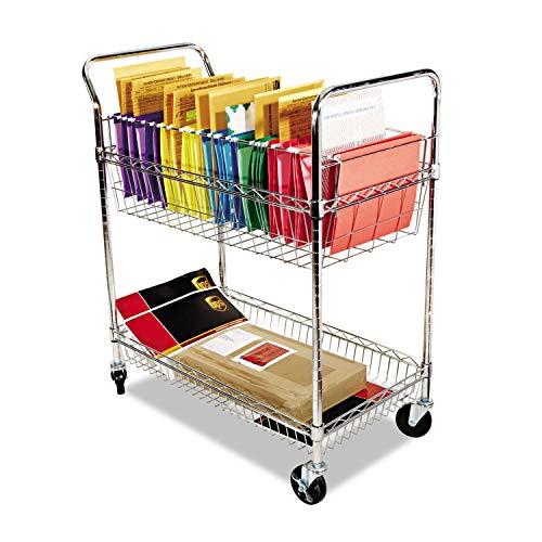 ALERA MC343722CR Carry-all CartMail Cart Two-Shelf 34-78w x 18d x 39-12h Chrome