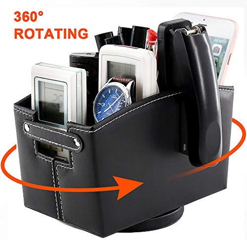 Spinning Remote Control Holder Leather Remote HolderRevolving Desk Organizer CaddyMulti Use Media Storage Organizer Box with Compartments360 Degree Rotating Caddy BoxBlack