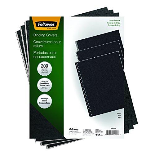 Fellowes Binding Linen Presentation Covers Letter Black 200 Pack 5217001