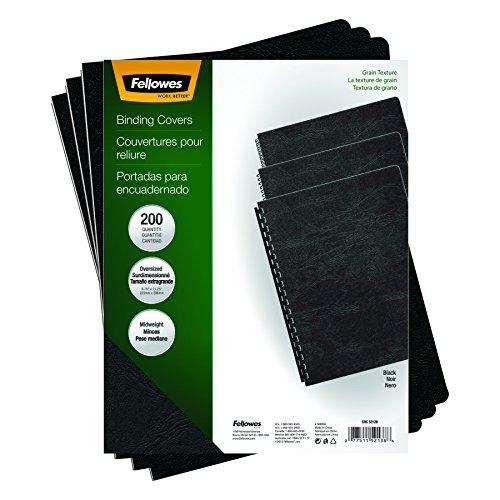 Fellowes Binding Presentation Covers Oversize Letter 200 Pack Black 52138