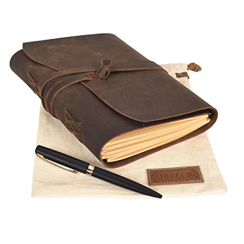 Leather Journal Lined Paper Gift Set -Large Refillable Journal for Men Women A5 6 x 8 Leather Bound Notebook Jofelo Handmade Vintage Writing Notebook Travel Diary Lined Pages
