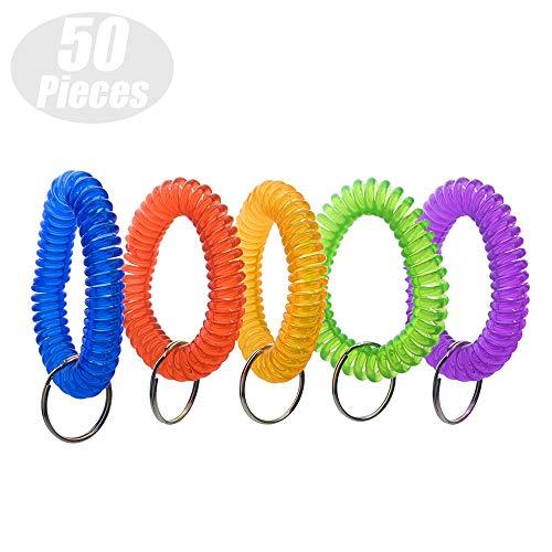 Aspire Wrist Coil Key HoldersStretchable Bracelet Keychain Assorted Colors 50 Pieces