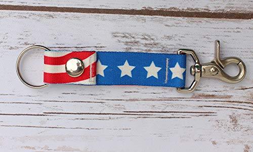 American Flag Keychain - Handy Clip Snap Ring Style Key Webbing Fob Keychain