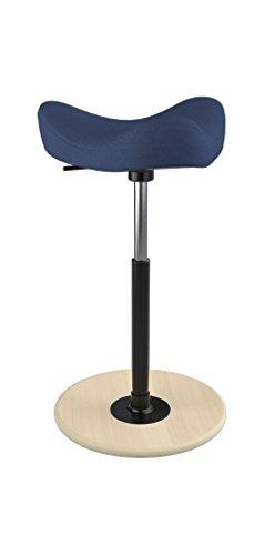 Varier Move Tilting Saddle Stool Dark Blue Revive Fabric with Natural Ash Base