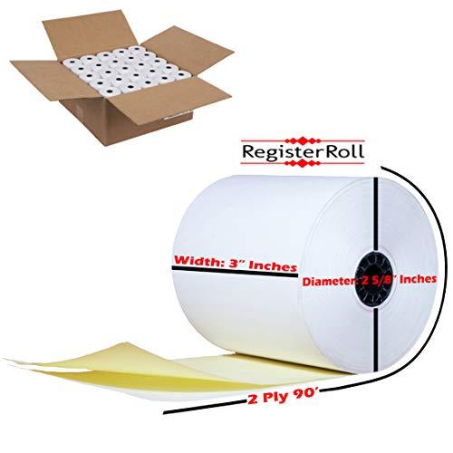 200 Rolls 3 X 90 ft 2-ply Carbonless Kitchen Paper 200 Rolls  Two Ply Carbonless Kitchen Printer POS Receipt Paper Rolls4 Case of 50 Rolls TMU 220 WhiteCanary from RegisterRoll