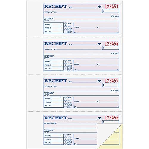 Adams DC1182 MoneyRent Receipt Book Carbonless 2-Part 7-58-Inch x11-Inch WE