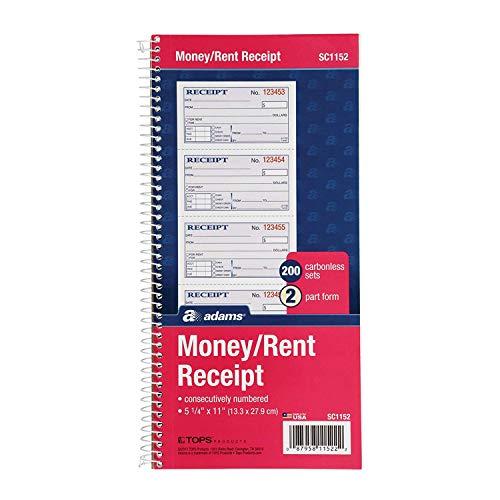 Adams Money and Rent Receipt Book 2-Part Carbonless 5-14 x 11 Spiral Bound 200 Sets per Book 4 Receipts per Page SC1152 12