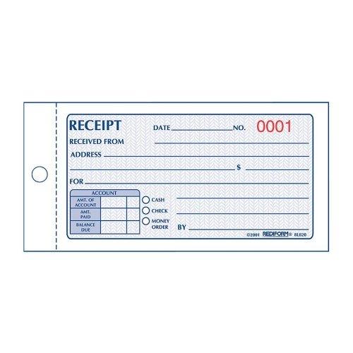 Rediform Money Receipt Book Carbonless 275 x 5625 Inches 50 Duplicate 8L820