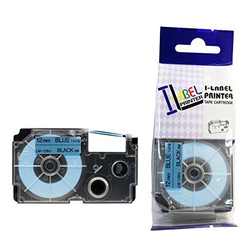 LM Tapes - Casio CW-L300 12mm Black on Blue Compatible Label Tape for Casio CWL300 EZ Label Printer